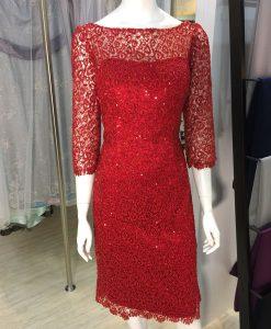 媽媽禮服,亮紅色,刺繡,亮片,七分袖,洋裝