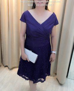 媽媽禮服,短版,及膝洋裝,式腰間抓褶,貼花小禮服,