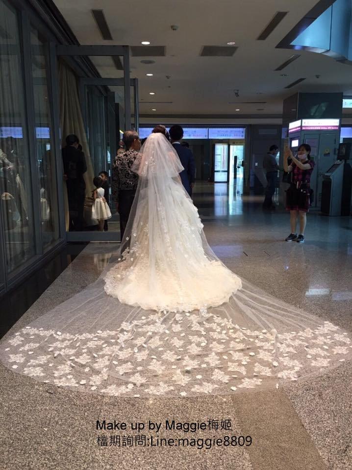 新娘白紗進場長頭紗 (25)
