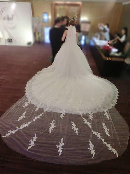 新娘白紗進場長頭紗 (34)