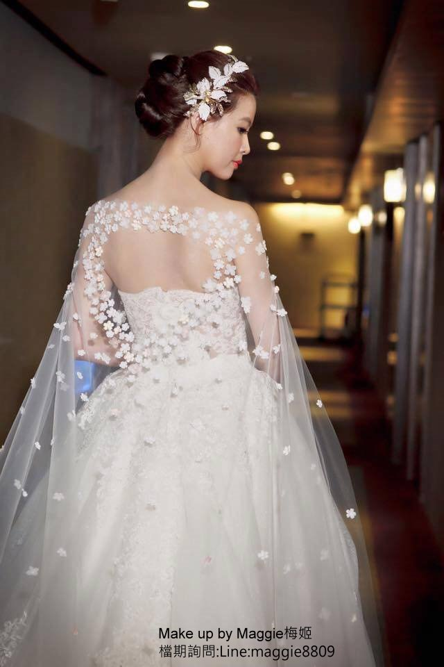 新娘白紗進場長頭紗 (6)