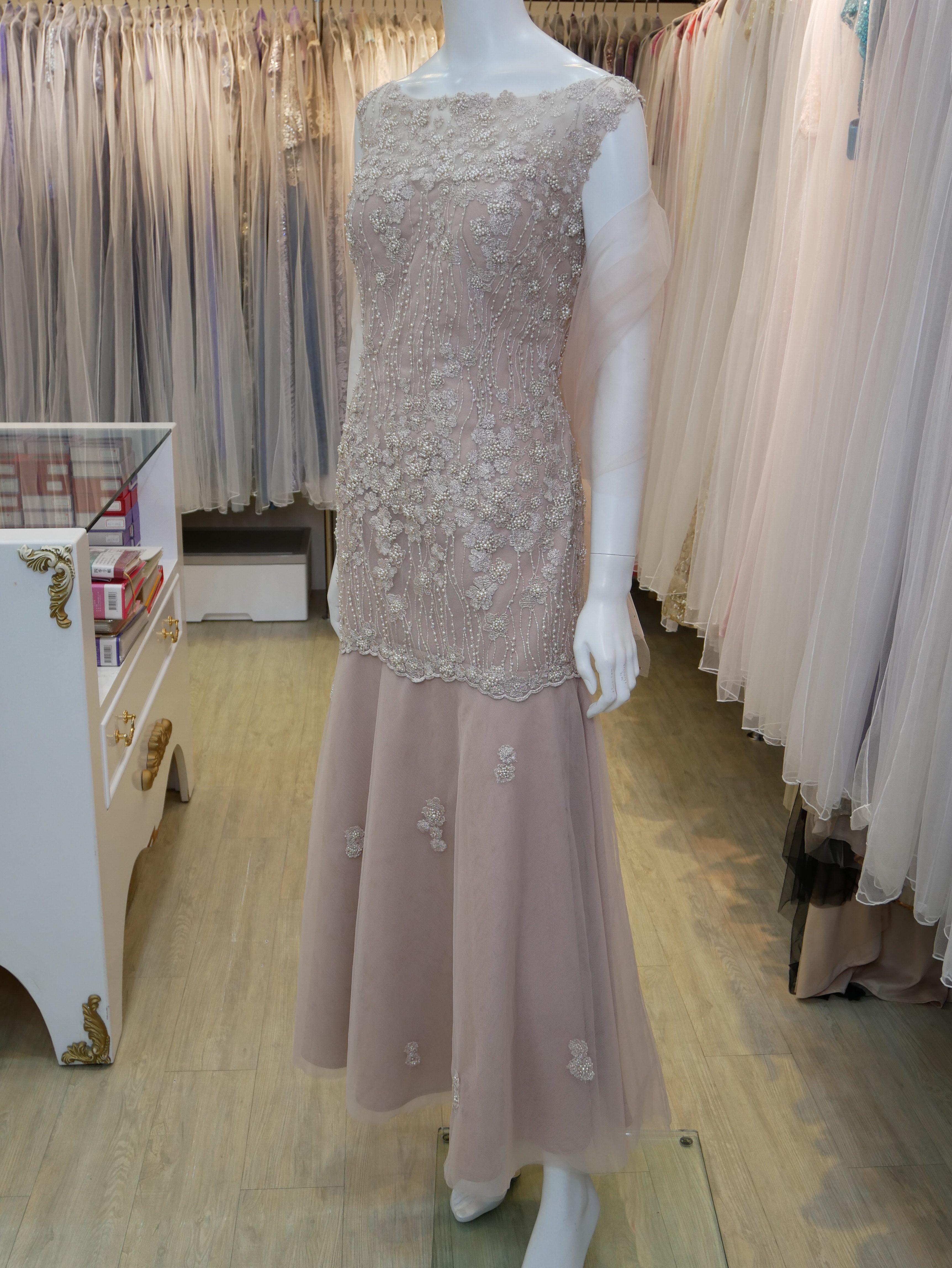 台北媽媽氣質禮服,粉膚,手工串珠,繡花,薄紗,圓領,晚禮服,長禮服,披肩