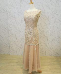 (台北媽媽禮服)MB40粉膚色手工串珠繡花荷葉邊裙襬晚禮服