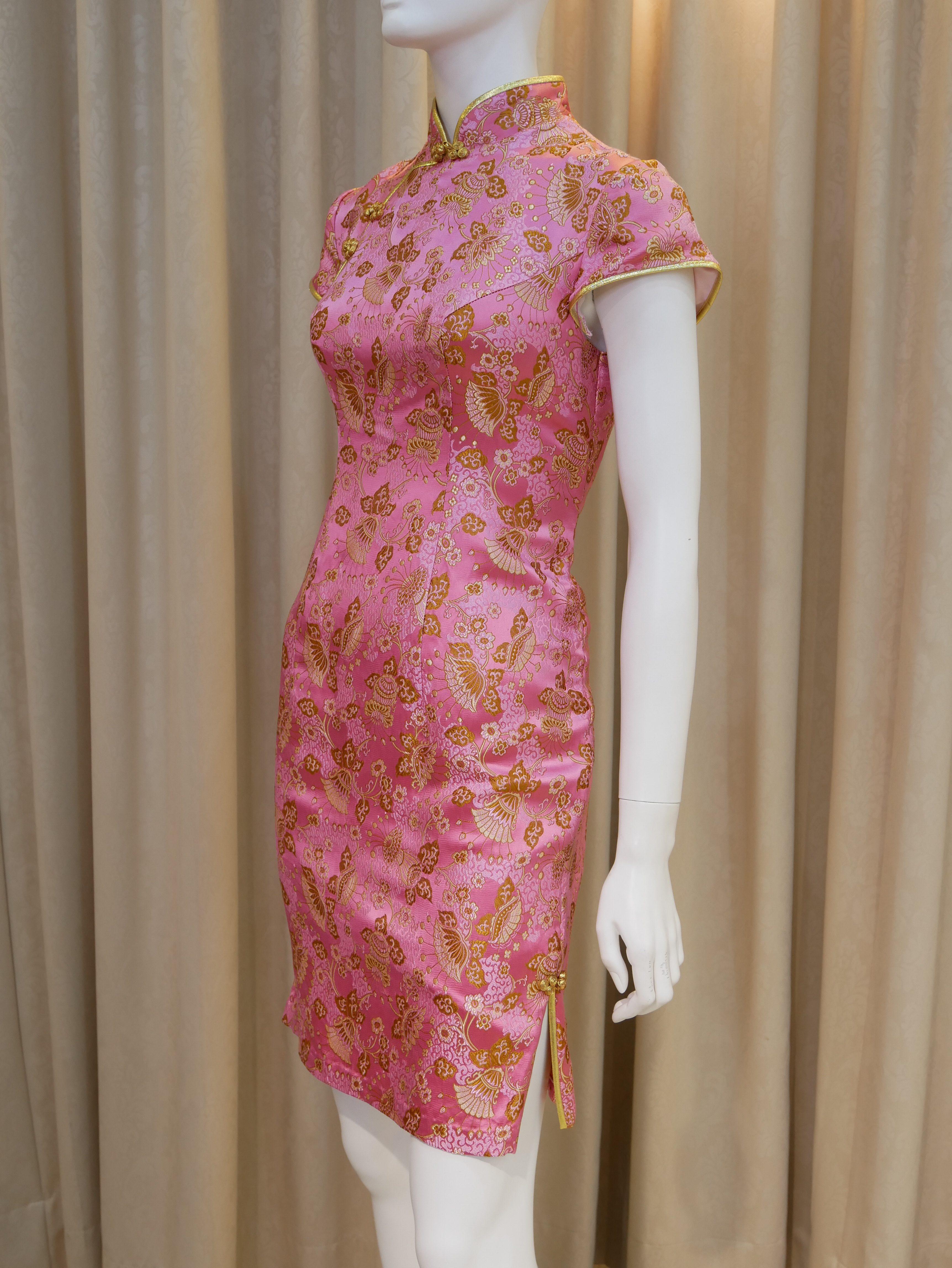 粉紅色,金色,短袖,短旗袍