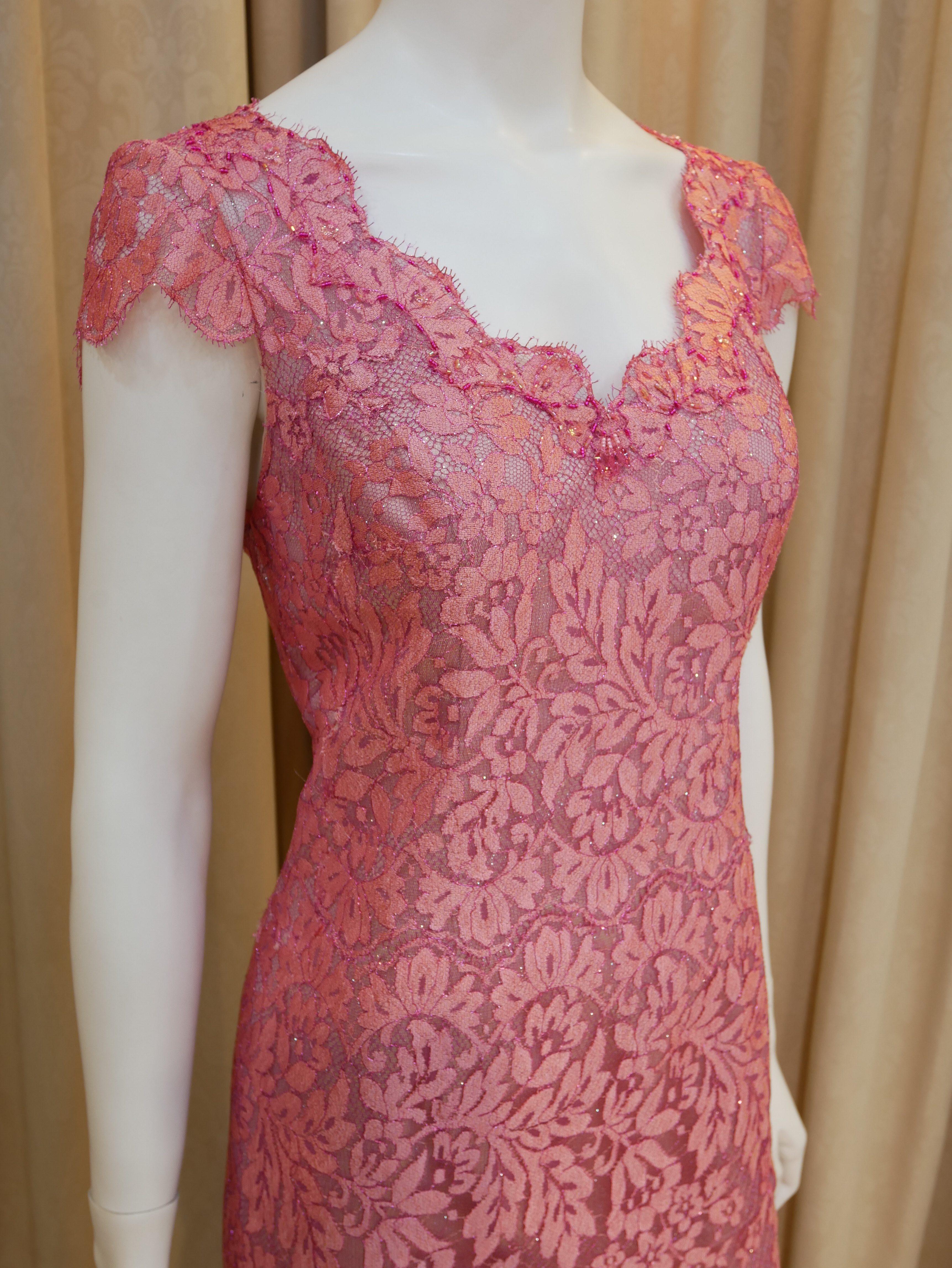 桃紅,蕾絲,花邊領,長禮服,披肩