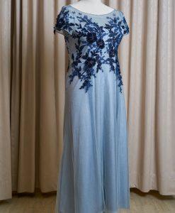 (台北媽媽禮服)B08大尺碼藍灰亮紗貼花長禮服