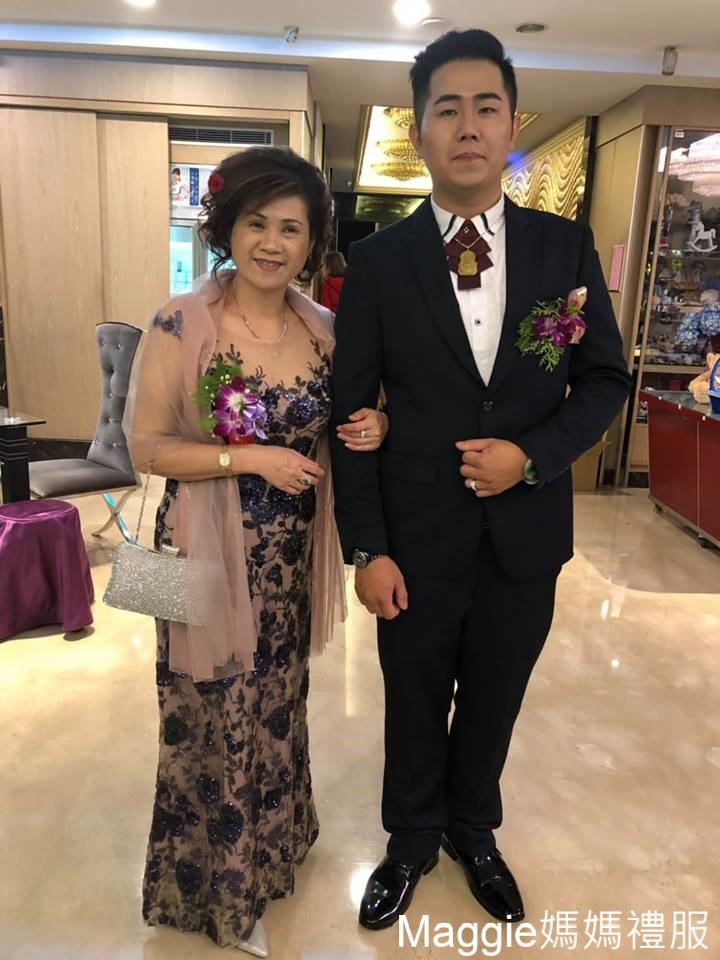 (台北媽媽禮服)宴客實穿K003水晶亮藍閃耀不規則花亮片媽媽晚禮服
