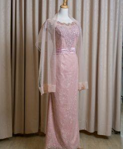 (台北媽媽禮服)MK17氣質柔粉蕾絲珠工蓋袖長禮服