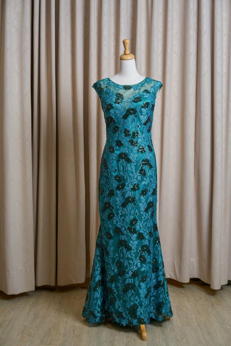 (台北媽媽禮服)MK28松花綠緞亮片蕾絲亮鑽小拖尾長禮服