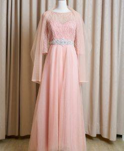 (台北媽媽禮服)MK35粉橘亮紗珠工七分袖A-line長禮服