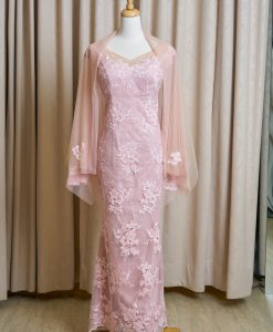 (台北媽媽禮服)MK43氣質粉蕾絲亮紗長禮服