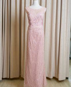 (台北媽媽禮服)MK46粉色流線珠工蕾絲貼花長禮服