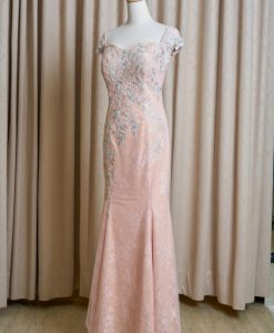 (台北媽媽禮服)MK49氣質粉蕾絲嫩綠貼花魚尾長禮服