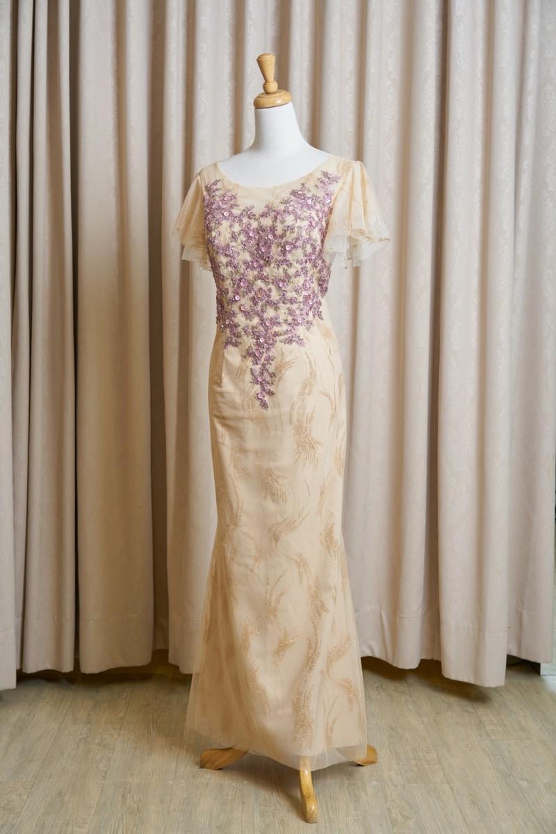 (台北媽媽禮服)MK51金亮紗紫蕾絲貼花荷葉袖長禮服