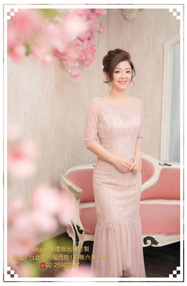 韓版,亮鑽流蘇,七分袖浪漫魚尾,晚禮服,媽媽晚禮服造型