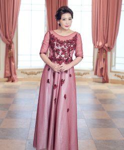 (台北媽媽禮服)MH06紅亮紗珠工貼花五分袖A-line長禮服