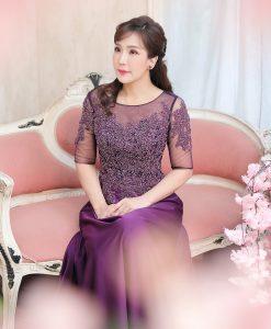 (台北媽媽禮服)MH08紫花珠工蕾絲亮鑽長禮服