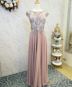 (台北媽媽禮服)M79-1豆沙紫刺繡亮鑽長禮服