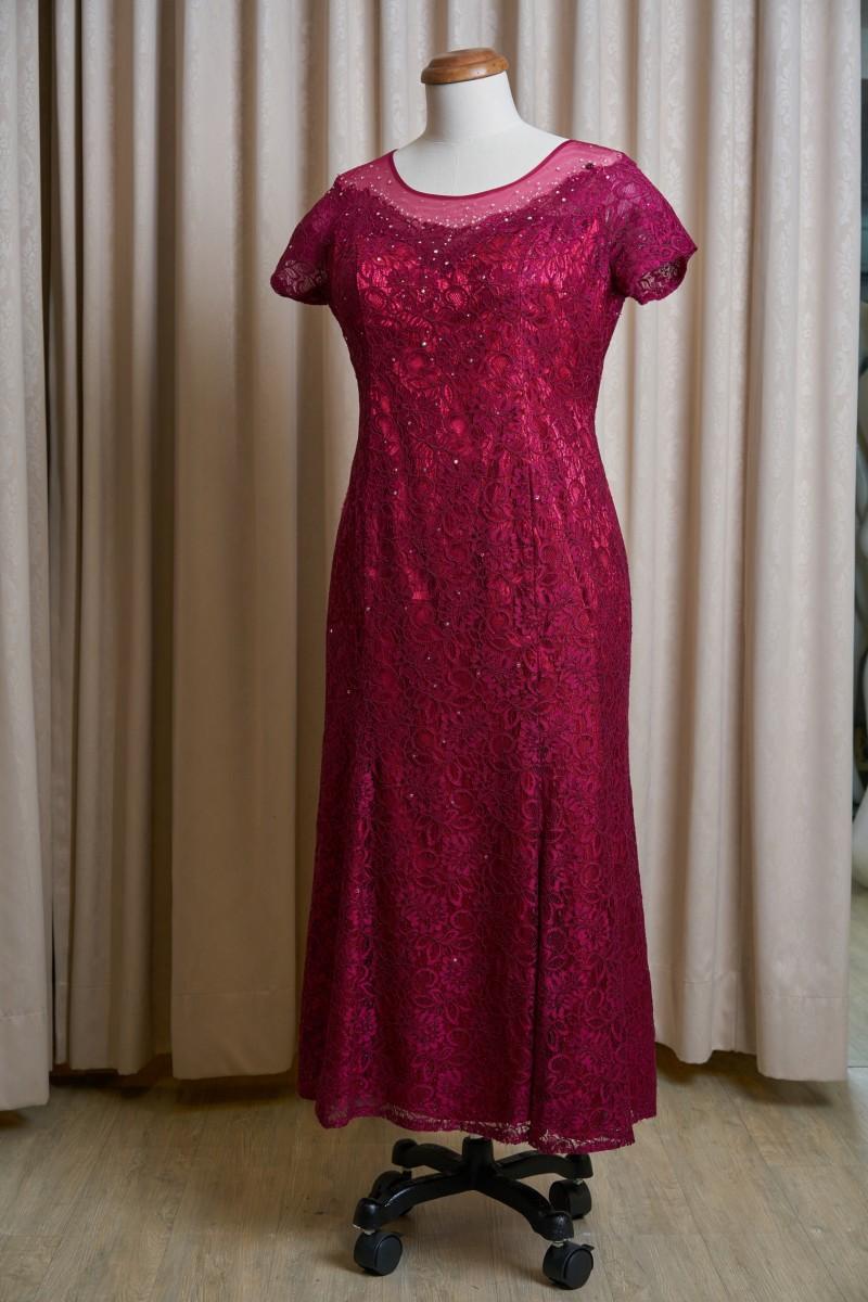 (台北媽媽禮服)B22大尺碼酒紅蕾絲亮鑽長禮服