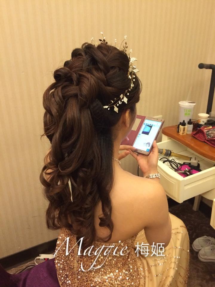 新秘造型,新娘造型,長髮挽髮,2股編髮型,飾品搭配,