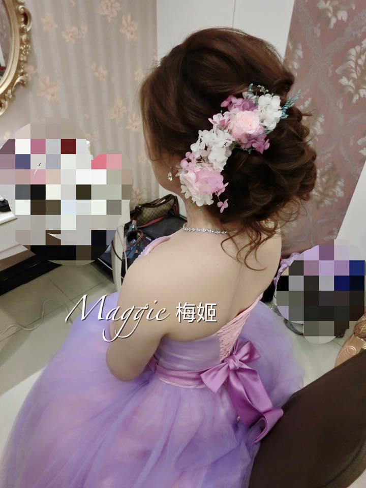 新秘,自然澎鬆捲髮造型,列車工作室,粉紫色,禮服,飾品,永生花,