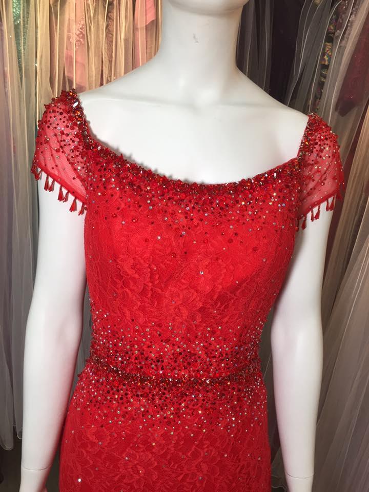 媽媽禮服,喜氣洋洋,亮紅色,手工串珠,蕾絲,晚禮服