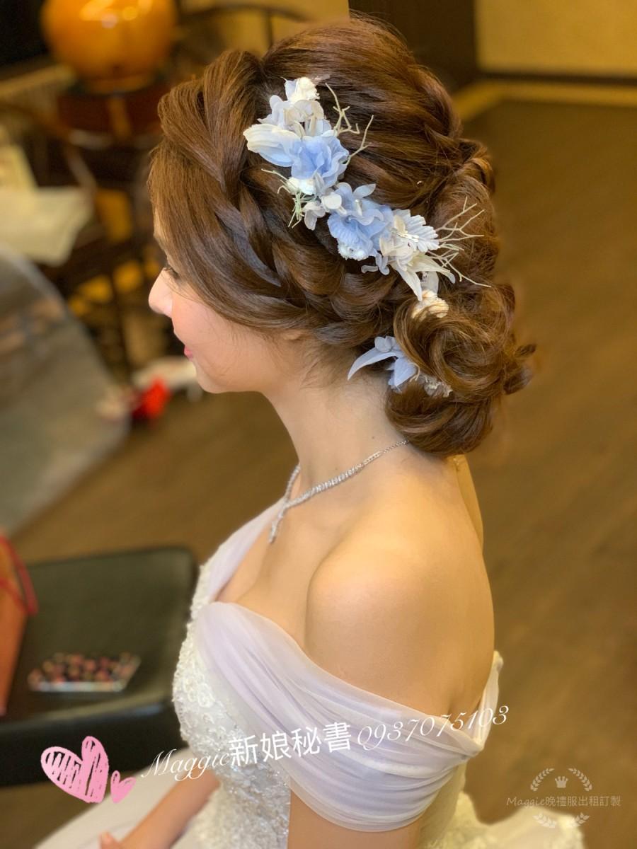 仙仙風小清新淡藍色敬酒晚禮服類婚紗造型