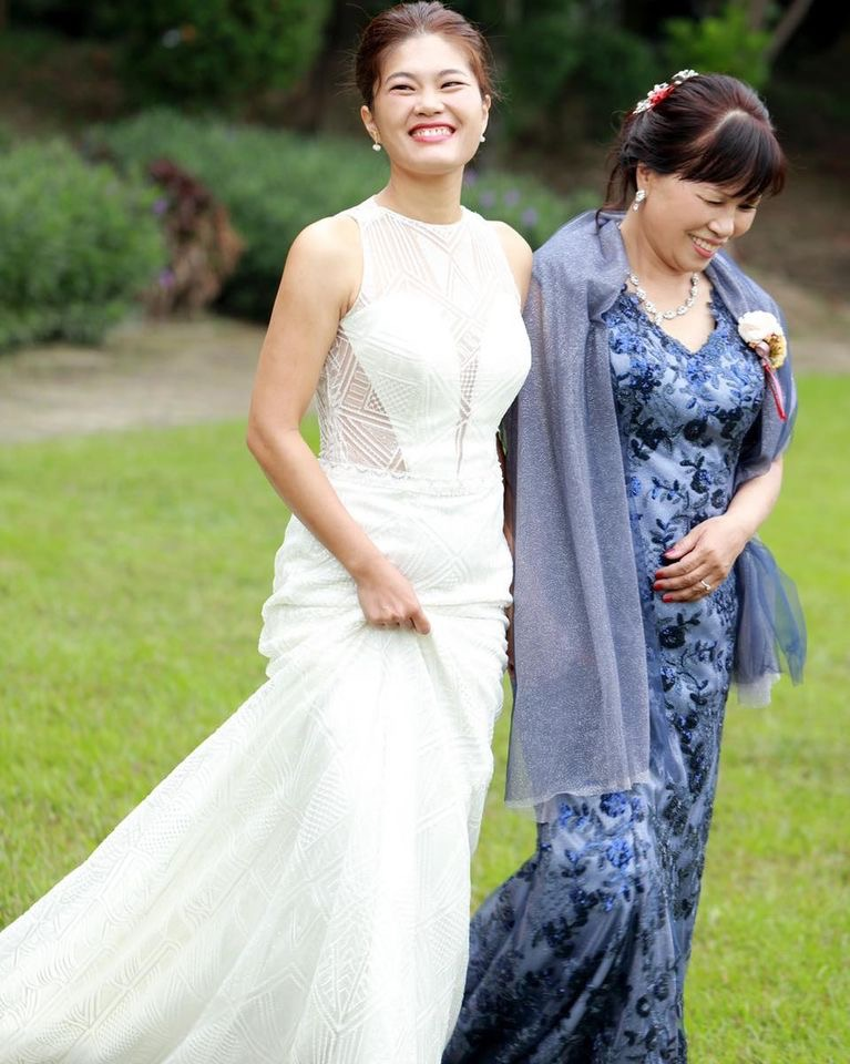 戶外婚禮媽媽禮服,婚禮禮服,藍色蕾絲禮服